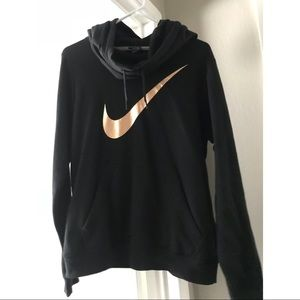 Black with Rose gold Nike cowl neck hoodie